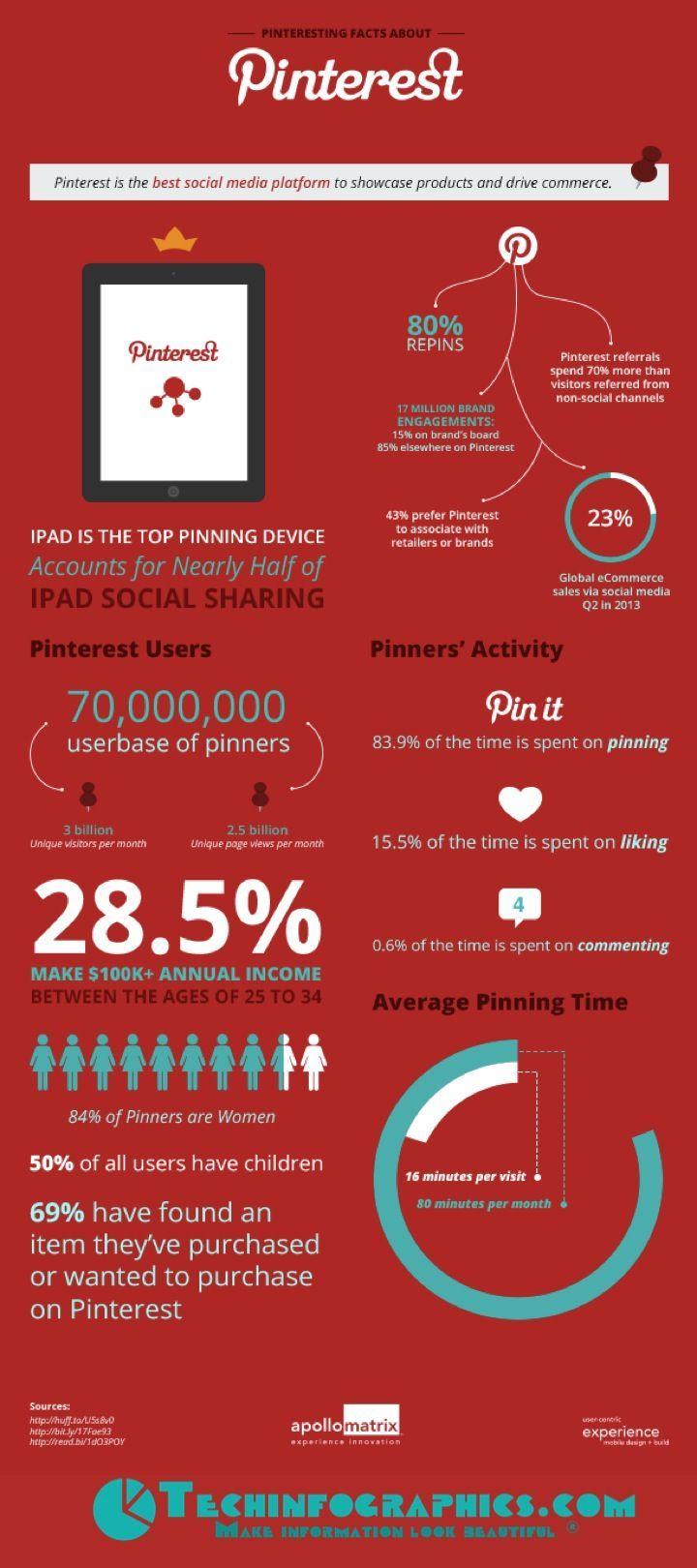 Pinterest Statistics & Demographic Information Infographic