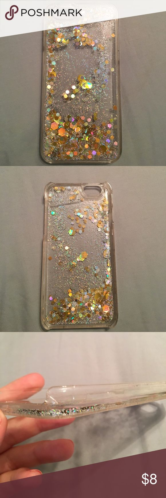 Urban Outfitters Glitter Phone Case Urban Outfitters Glitter Phone Case. iPhone 6s compatible. Gold/silver glitter. Minor scratches along outside edge. Urban Outfitters Accessories Phone Cases