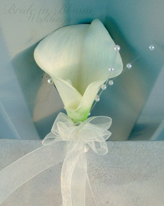 Corsage  White calla lily corsage Wedding by BrideinBloomWeddings