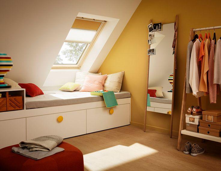 Die besten 25+ Dachfenster Schlafzimmer Ideen auf Pinterest - platzsparend bett decke hangen