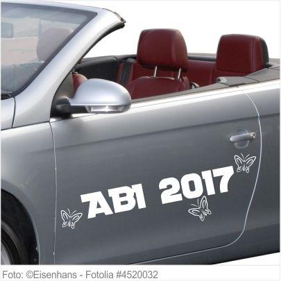 Autoaufkleber und Sticker ABI 2017 mit Schmetterlingen