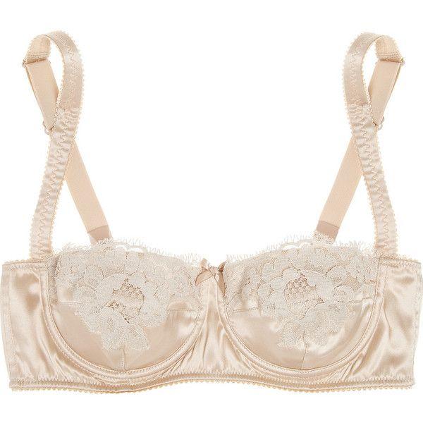 Dolce & Gabbana Lace-trimmed stretch-silk satin balconette bra (555 BRL) ❤ liked on Polyvore featuring intimates, bras, lingerie, underwear, nude, balconette bra, stretch bra, balcony bra, nude bra and satin shelf bra