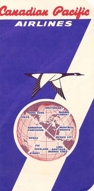 CP Air      Canadian Pacific Airlines - boarding pass cover - 1959 by mikeyashworth on Flickr.