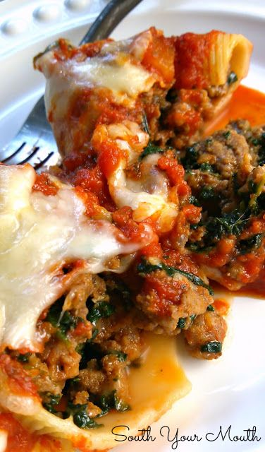 Classic Stuffed Shells with Italian sausage, ground beef, (I used ground turkey and Italian turkey sausage) spinach, garlic and herbs stuffed in jumbo shells then topped with sauce and cheese!