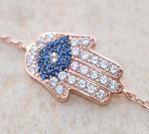 Sterling Silver 925 Bracelet Rose Gold Plated White Zircon & Blue Amethyst