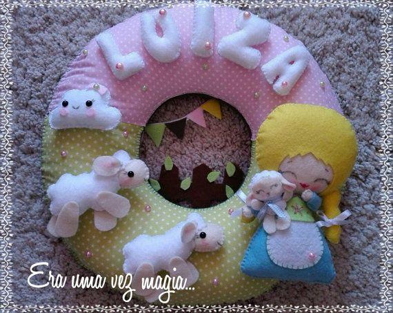 Sweet Sheep & Girl Shepard Door Wreath Baby's by mywonderfelt