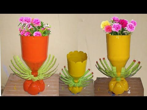 The Great Ideas Of Recycling Plastic Bottle To Make Fancy Colourful Flower Pots At Home Bottle Pot In 2020 Colorful Flower Pot Flower Pots Recycle Plastic Bottles