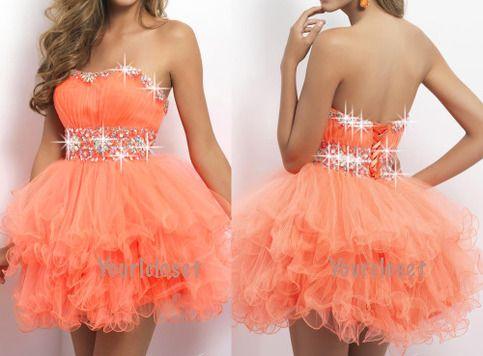 prom dress prom dresses #prom orange dress #coniefox #2016prom
