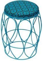 Blue undulate stool with Bemba Blocks cover.