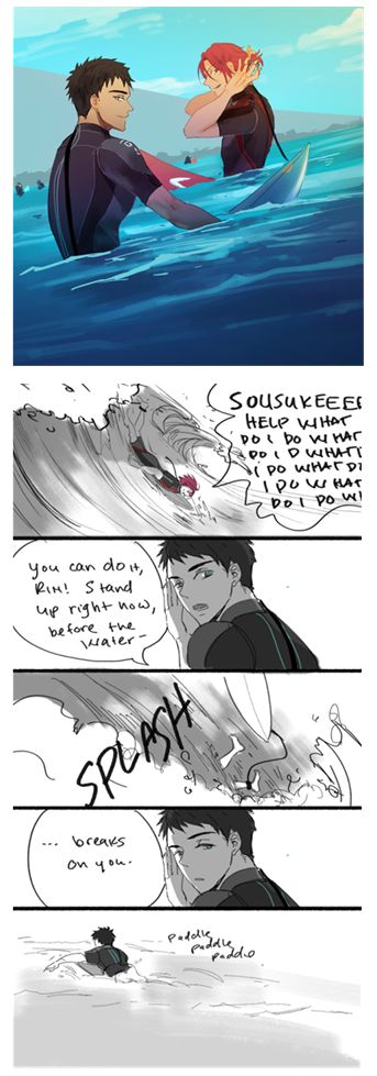 Sousuke followed Rin to Australie and learned to surf in his free time.  One day he takes Rin with to the beach to learn the redhead to surf too ... By rocket ... Free! - Iwatobi Swim Club, sousuke yamazaki, sousuke, yamazaki, free!, iwatobi, rin matsuoka, matsuoka, rin