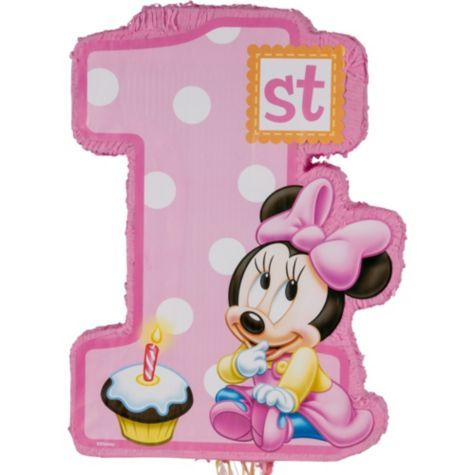 Pull String 1st Birthday Minnie Mouse Pinata 21 1/2in x 14in - Party City