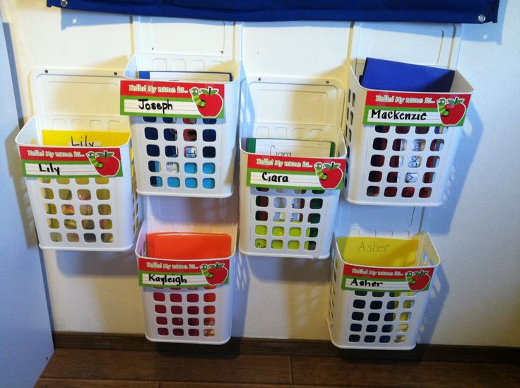 Ikea trash bins used for preschool cubbies... could use peg board dividers to hang the cubbies on???