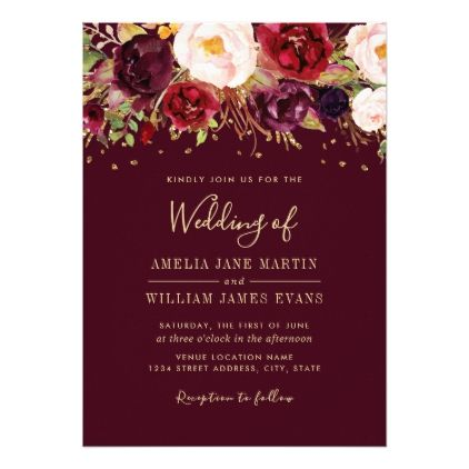 Gold Burgundy Sparkling Marsala Wedding Invitation Wedding