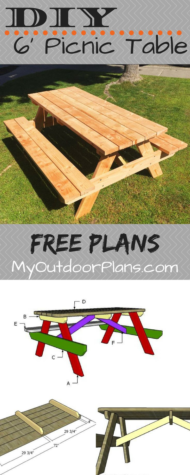 Free Plans For Building A 6 Foot Picnic Table This Table