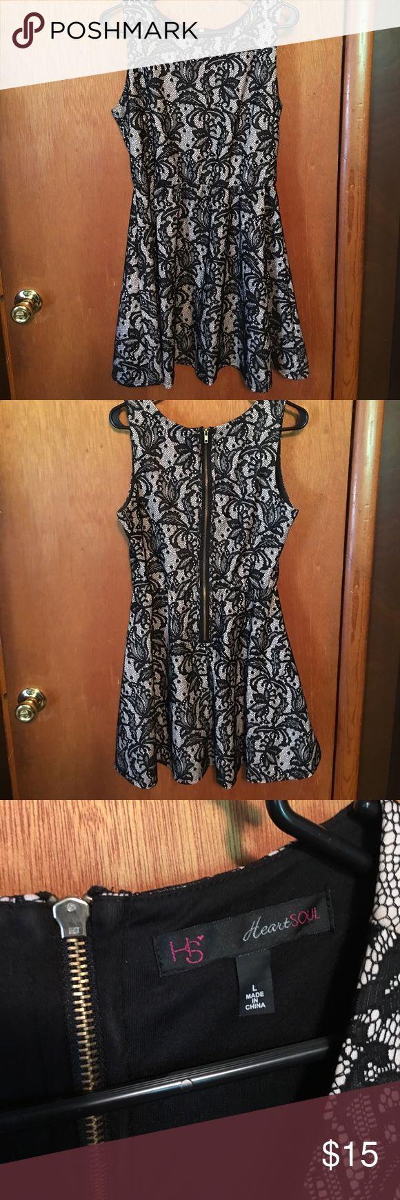 Beautiful Black and Tan lace dress Beautiful Black and Tan lace dress. Mid length. Zipper back.size L HeartSoul Dresses Midi