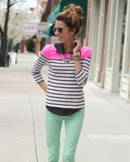 Stripes + polka dots + pastel (mint)