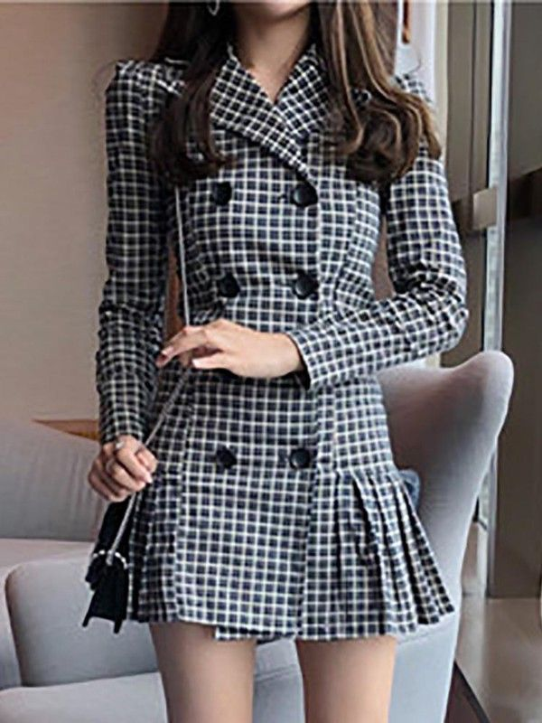 ad43d9d11 Grid Double Breasted Pleated Blazer Dress