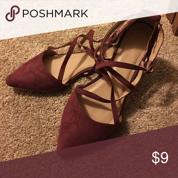 Charlotte Russe burgundy strappy flats I wore these shoes for only a couple of hours to my senior homecoming. I have no need for them anymore, just taking up space in my closet! Charlotte Russe Shoes Flats & Loafers