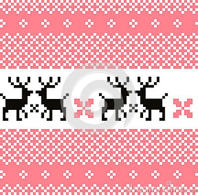 Cute Norwegian knitted pattern or background. Vector