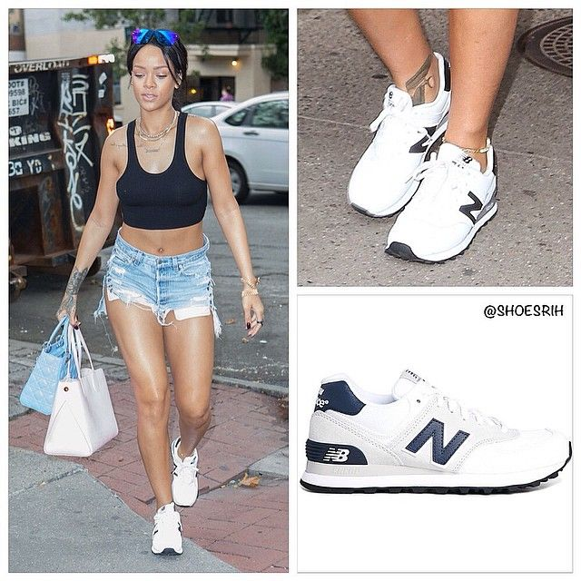 New Balance 574 white suede and canvas sneakers. #NY