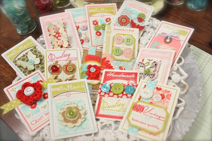 Michelle Wooderson's button cards, so colourful, love them!