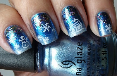 Colores de Carol: China Glaze Blue Bells Ring and Glitter All The Way