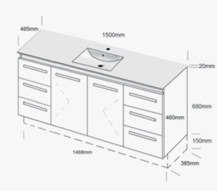 Glacier Ceramic Trio Vanity, 1500mm. Single Bowl Top. - 1500mm Vanities - Vanities & Storage - Bathware Direct