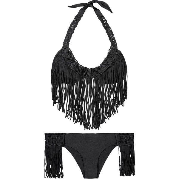 Luli Fama Black, Push-up, Fringed Bikini - Heart Hippie Black (£132) ❤ liked on Polyvore featuring swimwear, bikinis, black, bikini swim wear, push up fringe bikini, hippie swimwear, low rise bikini and fringe bikini