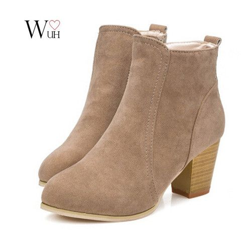 short cylinder Martin Side  zipper  ankle  high heels boots shoes - Stylish n Trendier - 1