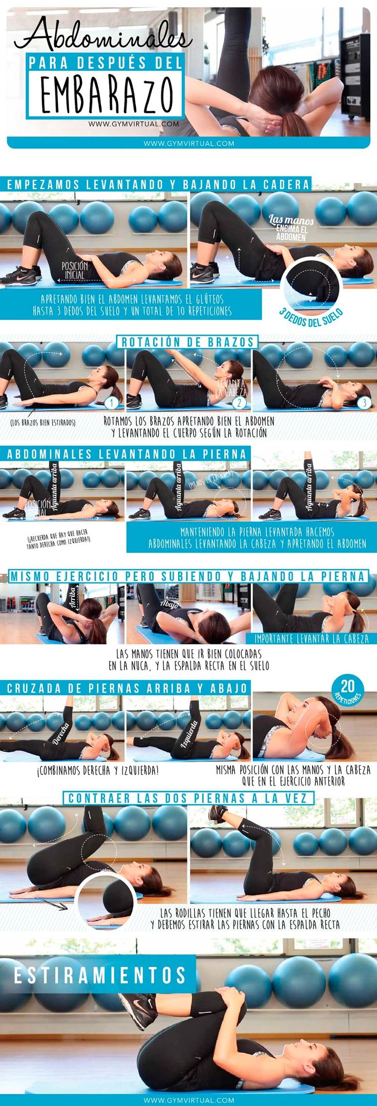 Rutina de abdominales post embarazo paso a paso | GYM VIRTUAL