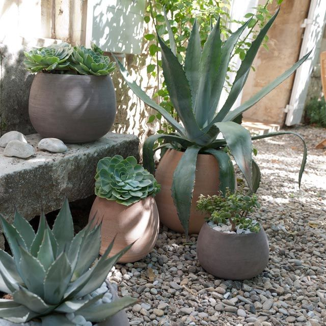 Pot de fleurs Goccia en terre cuite gris - CASTORAMA