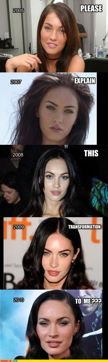 I felt that this was a good example of how people don't know when to stop, to the point that they completely disfigure themselves. It is also a good example of showing how young people, like Megan Fox who was only 22 when the last photograph was taken; uses plastic surgery to look younger, and to change elements of her face to the point she is almost unrecognisable.