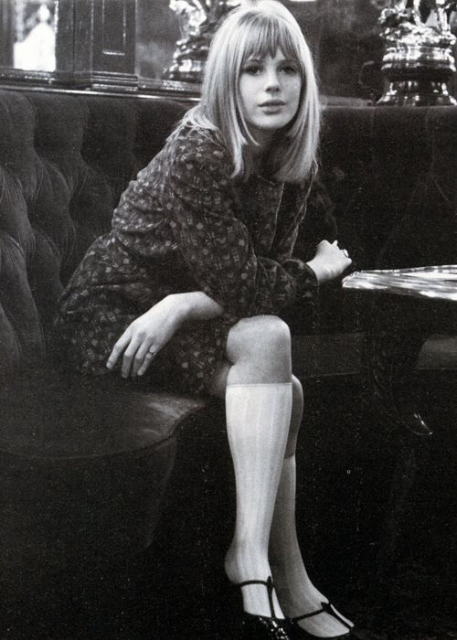 marianne faithfull.  Check out her shoes... T-strap... in all colors... very popular!