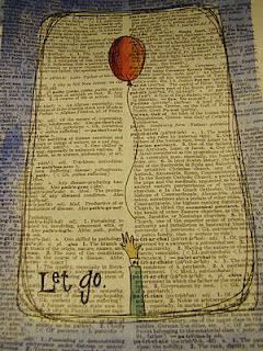 Book page or newspaper art: mixed media art idea.