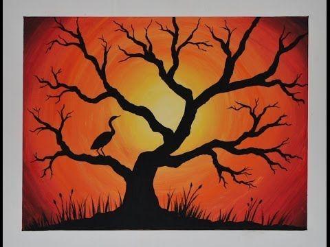Acrylic Painting on Canvas : Cranes Sunset - YouTube