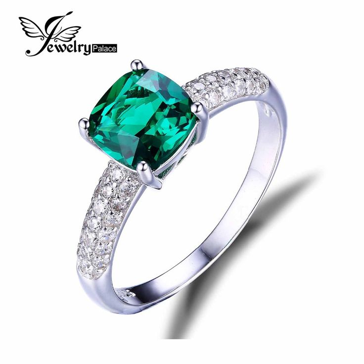 JewelryPalace Cushion 1.8ct Created Green Russian Nano Emerald Solitaire Engagement Ring Pure 925 Sterling Silver Luxury Jewelry