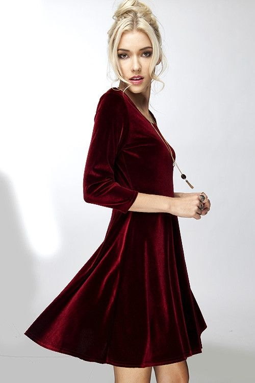 """- This chic and flirty swing dress features a trending skater skirt design. - Great dressed up for any Holiday event! - Small: 33"""" length / 16"""" bust"""