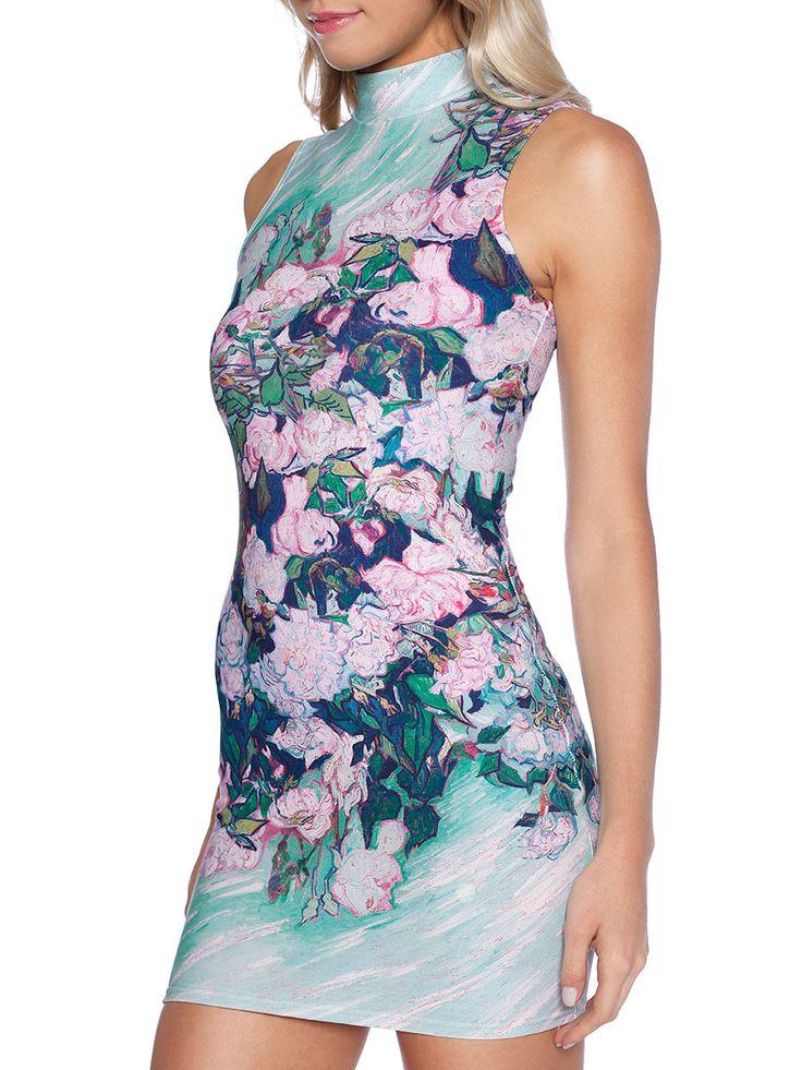 Van Gogh Roses High Neck Toastie Dress (WW $90AUD / US $72USD) by Black Milk Clothing