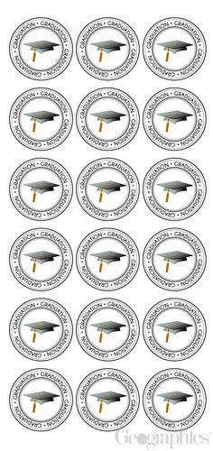 Graduation Cap Seals, Black & White, 1.25, 54/PK
