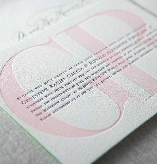 Yountville letterpress wedding invitation by @Sally McWilliam McWilliam Pine Erie Press in shell pink and espresso brown with kelly green painted edges