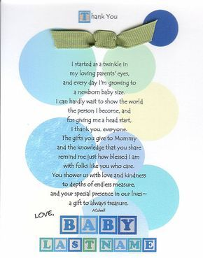 Baby Shower Thank You From Unborn Baby Poems | Gender Select an option Male Female Neutral