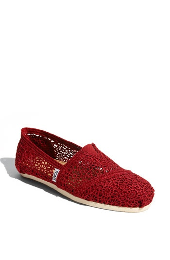 Love these Toms ! Would add a great splash of razorback red to white shorts and a black top !