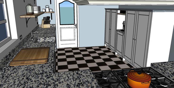 Landelijke keuken met terrazzo blad  ontwerp: Monique van Koppenhagen