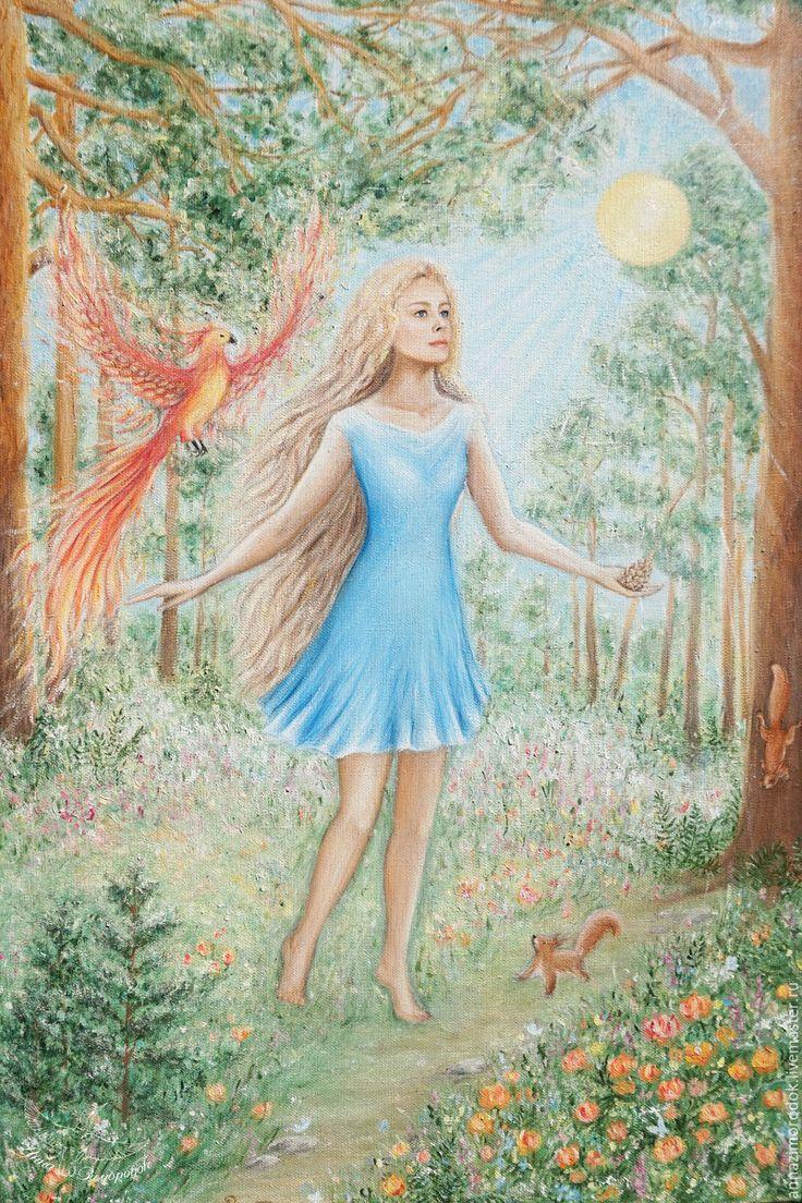 """Купить Волшебная картина для интерьера """"Таежная ведрусса Анастасия"""" мегре - флора яблоко женщина"""