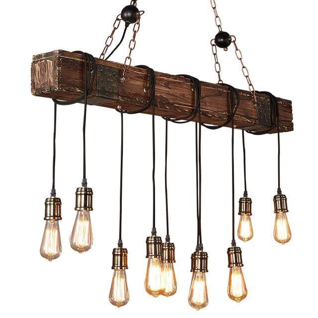 Iwhd 10 Kopfe Holz Vintage Lampe Loft Stil Industrie Anhanger Leuchten Bar Coffe Edison Retro Pendel Pendelleuchte Vintage Beleuchtung Decke Hangelampe Vintage