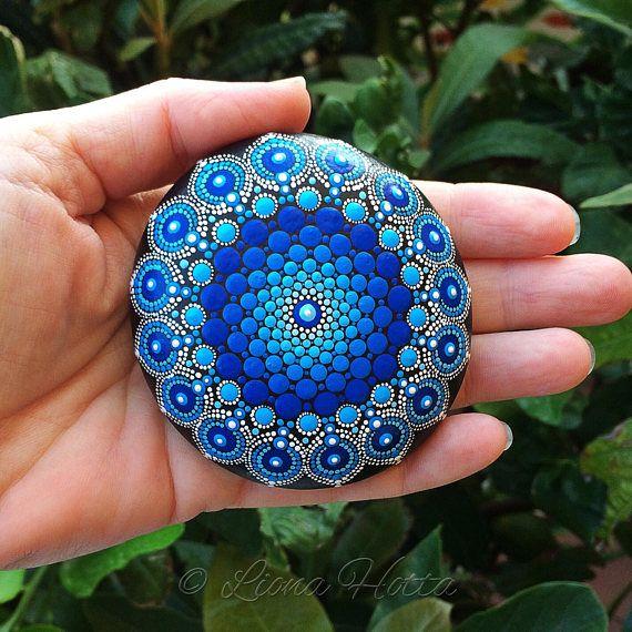 Gota de piedra Mandala Deep Blue Ocean