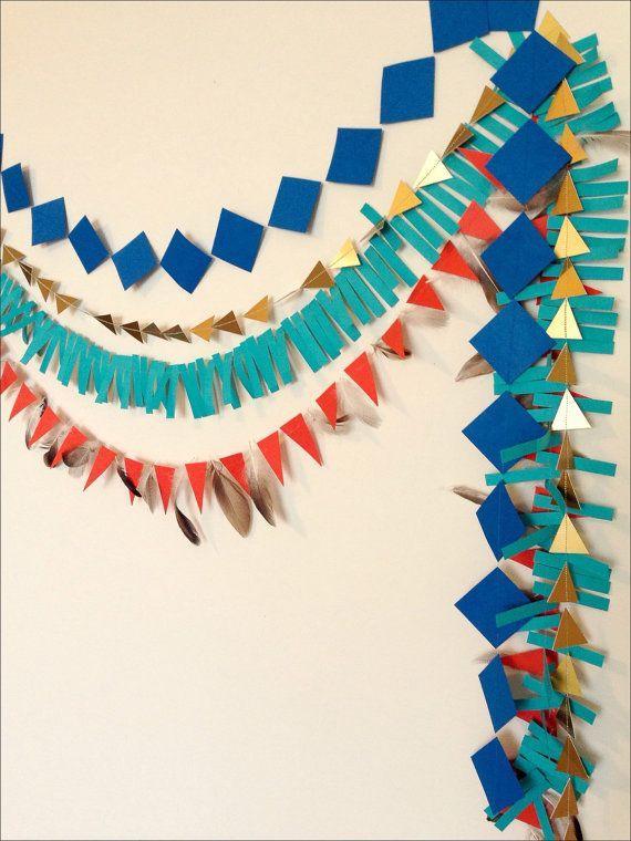 Geometric Paper Garland Cowboys & Indians Pow by LaCremeBoutique