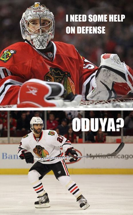 "When ever I say ""Oh Do yah?"" I giggle to myself, an everyone looks at me funny....I love hockey puns. =]"