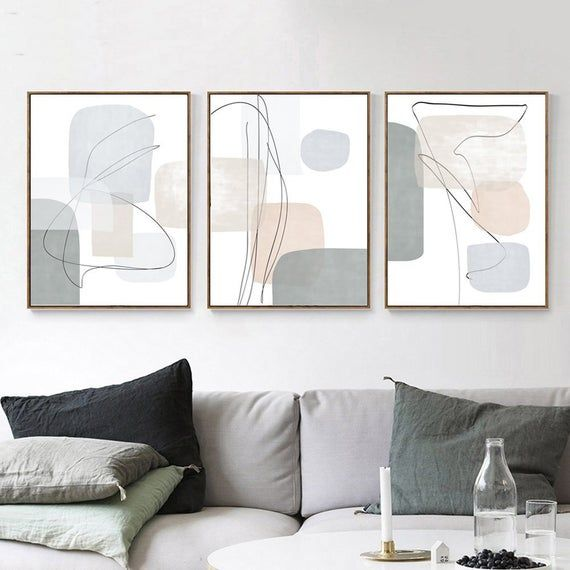Geometric Poster 3 Piece Wall Art Gray Blue Art Abstract Etsy In 2020 Printable Art Living Room Living Room Art Wall Art Living Room
