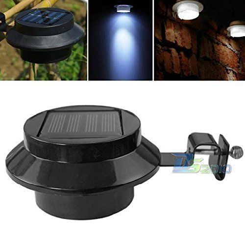 This solar power 3 LED fence light is very popular and green, energy-saving. It can be installed under the roof or fixed on the fence in your garden.  #Solar #Outdoor #Waterproof #Gutter #LED-Security-Spot-Flood-Light-Black